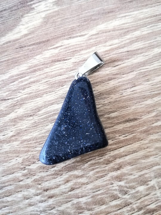 Goudsteen blauw edelsteen hanger + halsketting Image