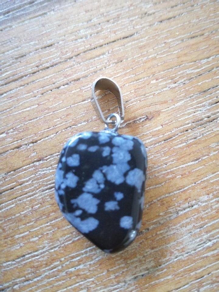 Sneeuwvlok obsidiaan edelsteen hanger + halsketting Image