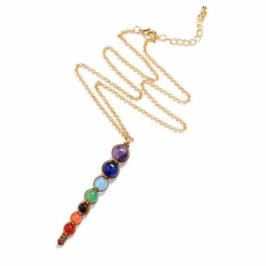 Chakra hanger + ketting met 7 edelstenen Image