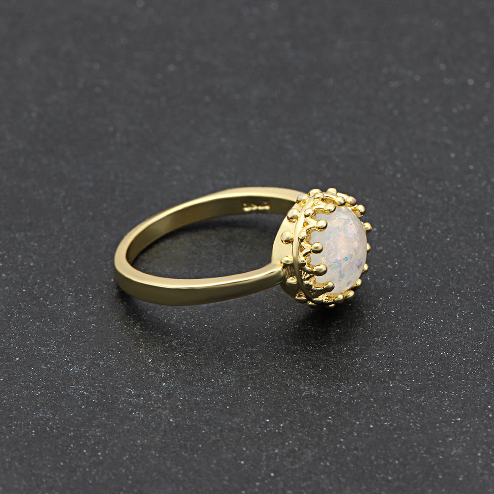 Opaal ring - gold plated - maat 7 Image